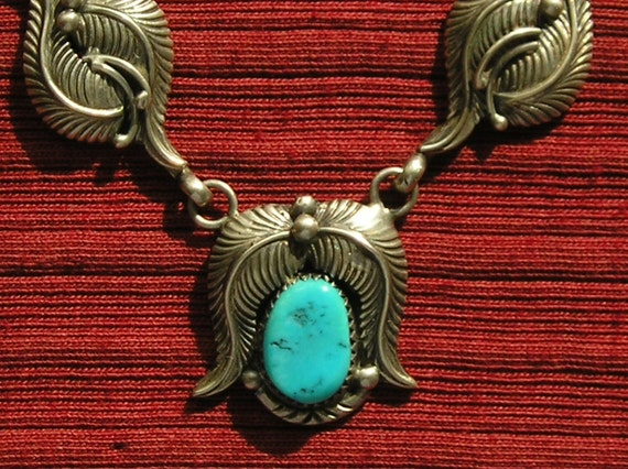 Southwest Sterling Silver Turquoise Leaf Pendant Necklace