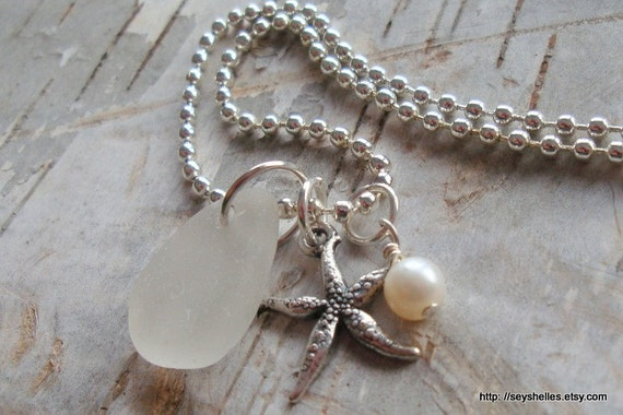 SEA GLASS NECKLACE White Sea Glass Starfish, Creamy Pearl,  Ball Chain, Pewter Starfish
