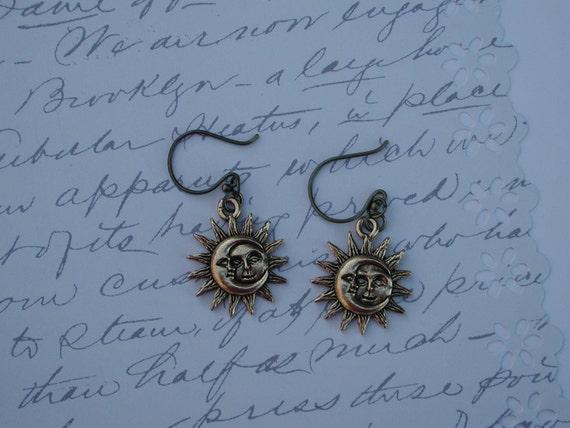 FINAL SALE Gold Sun Earrings Moon Earrings  8202