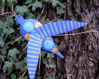Garden Art - Grasshopper - Original Repurposed Metal 3D Sculpture Blue