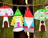 Garden Gnome and Mushroom Banner Craft Kit