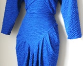 80s Vintage Rouched Dress w/High Neck Blue