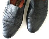 Black Vintage Lizard Skin Shoes by Ennesi Rocker Chic Size 7