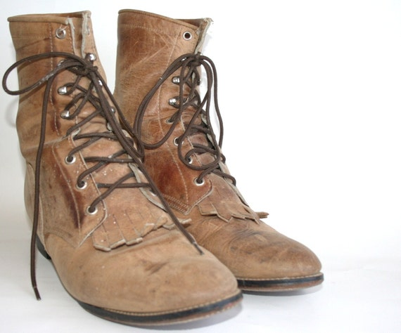 Hotter In July SALE Men's Vintage Distressed Laceup Combat