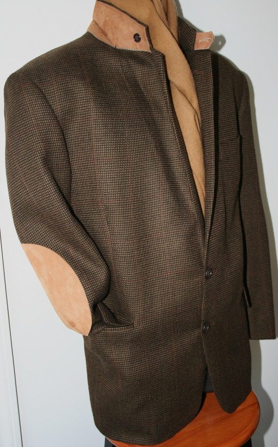 Designer Dusty Chic Chocolate Tweed Equestrian Jacket with Caramel Elbow Patches By Evan Picone