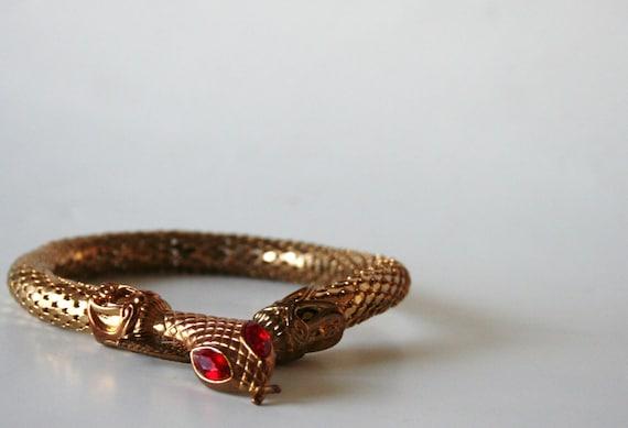 Mesh Gold Tone Vintage Snake Bracelet w Ruby Eyes
