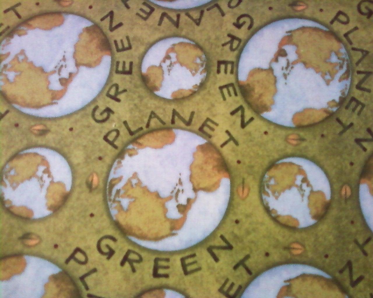 Debbie mumm green planet earth fabric for Fabric planet