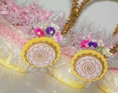 vintage inspired pink & yellow candy/nut cup duo