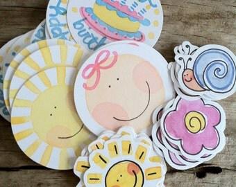 Die cuts, Set of 35 die cuts for scrapbooking/card making sun, flower, baby face, birthday cake
