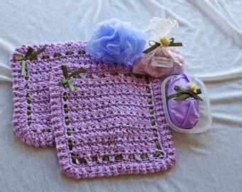 Lavender Bath Set - Lavender with Green Ribbon