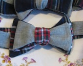 RESERVED FOR anomaly140: Black Tartan Plaid w/ Grey Suiting Bow Tie