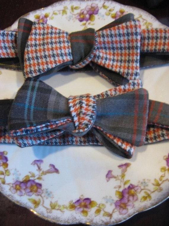 Orange Grey Houndstooth w/ Olive Green Plaid Bow tie