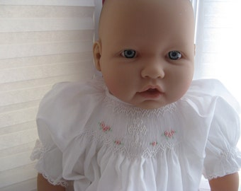 Custom made Sweet and Simple Christening gown -Dedication gown- handsmocked white on white with pink flowers