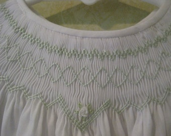 White baby dress with green geometric smocking -size 6 months - Infant smocked dress