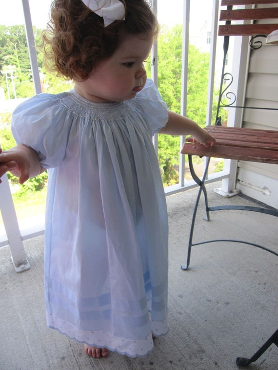 Blue smocked toddler dress - size 18 months