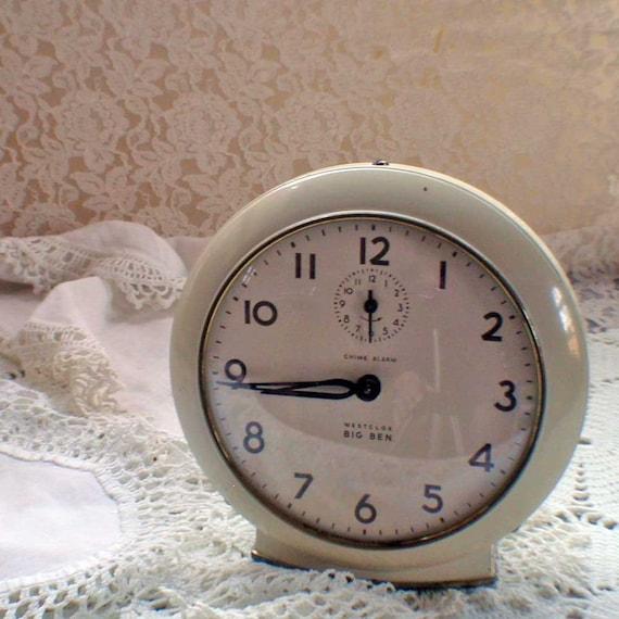Vintage Westclox Big Ben Chime Alarm Clock with Creamy Paint