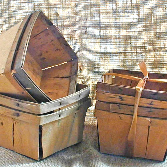 Vintage Wooden Berry Baskets Set of Four