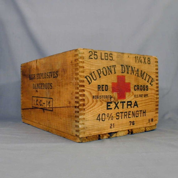Antique Wood Crate Dupont Red Cross Explosives
