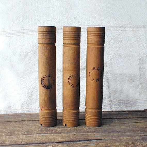 Tall Wood Textile Mill Spools Lot of Three