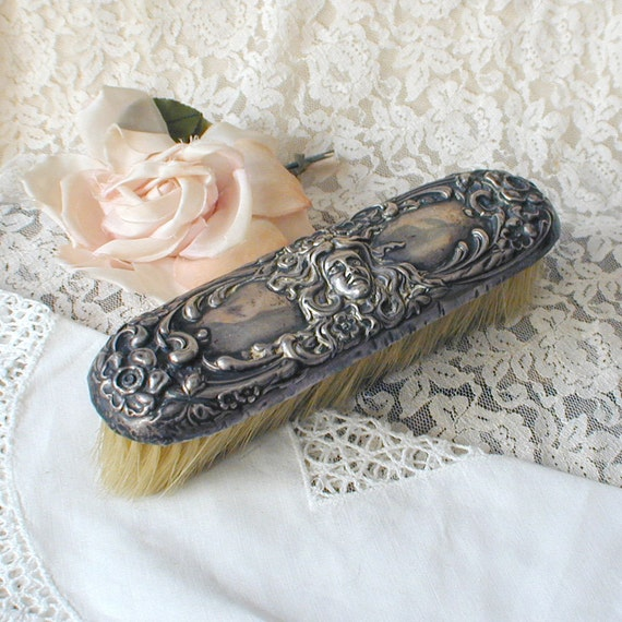 Sterling Silver Clothes Brush Figural Art Nouveau