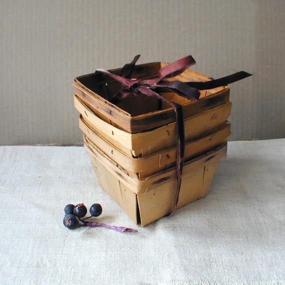 Vintage Wood Berry Baskets Square Half Pints