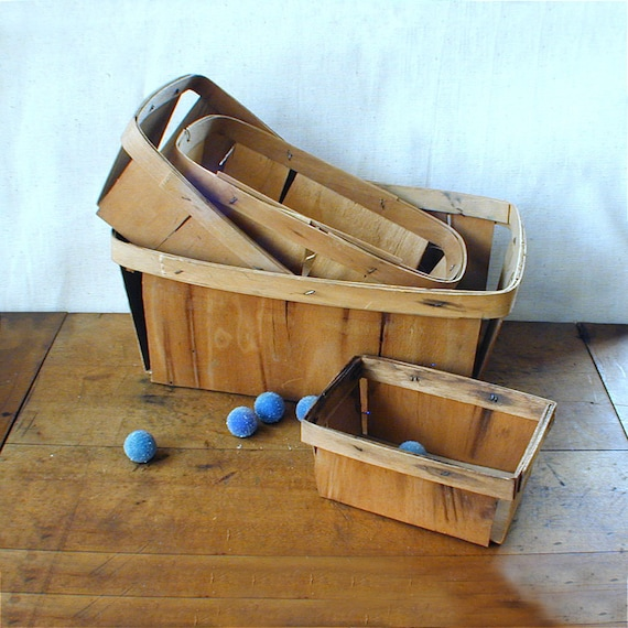 4 Wood Fruit and Berry Baskets Variety of Sizes