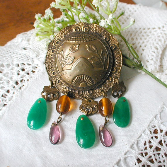 Vintage Dangling Brooch M. Baer ACC. S.F. Metal and Glass