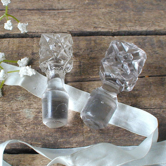 Vintage Glass Bottle Stoppers Lot of Two