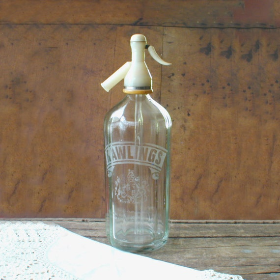 Vintage Rawlings Siphon Seltzer Soda Bottle with English Crest