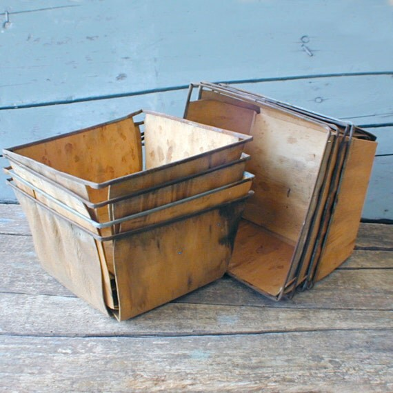 Aged Wood and Wire Berry Baskets Set of Four