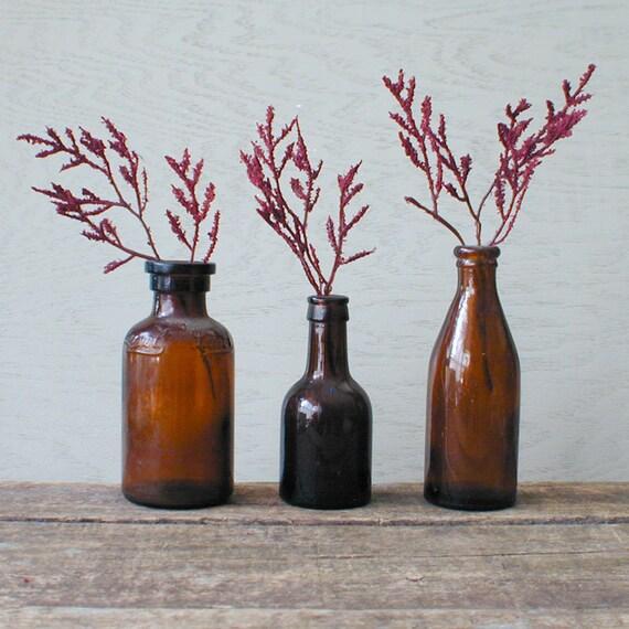 Antique Bottles Amber Glass