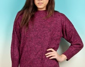 extra long magenta speckled sweater dress