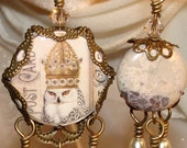White Owl asymmetrical earrings