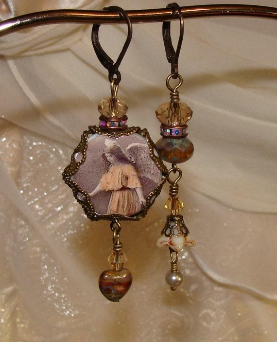 Guardian Angel asymmetrical earrings