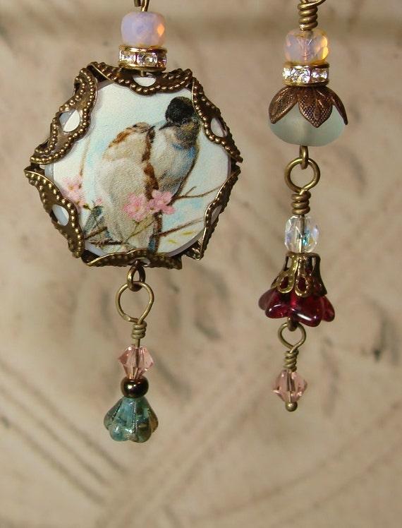 Bird Love Asymmetrical Earrings