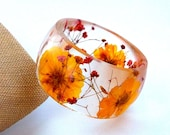 Size XL Botanical Resin Bangle.  Yellow and Red Pressed Flower  Bracelet.  Plus Size Bangle with Real Flowers.  Cosmos and Baby's Breath - SpottedDogAsheville