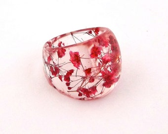 Red Resin Ring. Pressed Flower Resin Jewelry.  Cocktail Ring.  Handmade Jewelry with Real Flowers - Red Baby's Breath