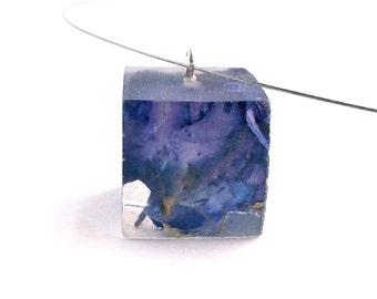 Purple Resin Necklace.  Purple Larkspur Resin Pendant.  Pressed Flower Pendant Necklace.  Real Pressed Flowers - Purple Larkspur