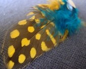 Yellow Polka Dot Feather Earrings