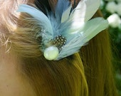 Light blue feather hair clip, polka dots and pearls