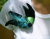 Turquoise and Lime Green Feather Brooch