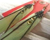 Pale Green Feather Earrings