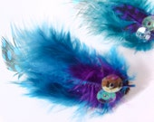 Blue and Purple Feather Post Earrings