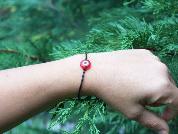 SCARLET, Red Evil Eye Bead Bracelet, Easter, Valentine Day, Bangle, WINTER SALE was 12 USD now 9 USD