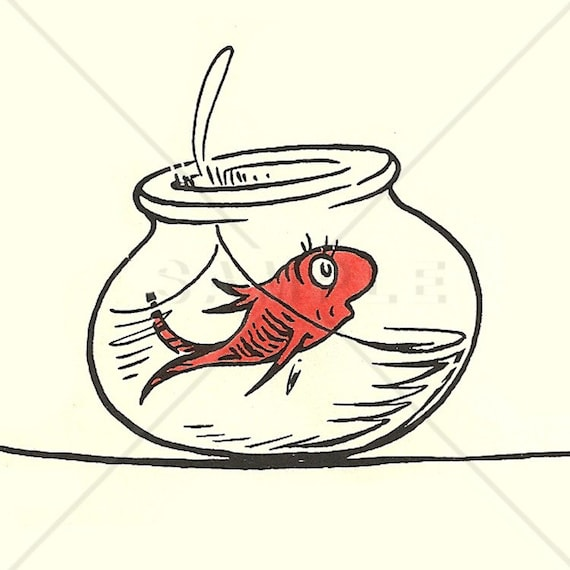 Items similar to dr seuss cat in the hat fish counted for Fish from cat in the hat