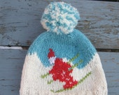 RESERVED 4 GazellesBestVintage Retro Ski cap, in blue and white with funky pom pom