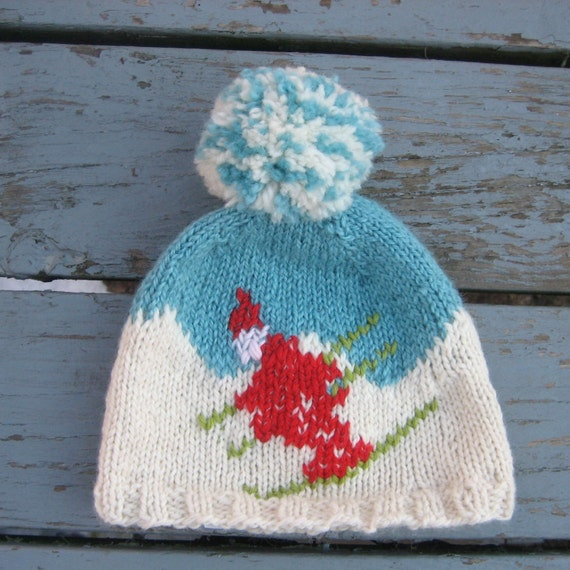Retro Ski cap,Winter olympics in blue with funky pom pom