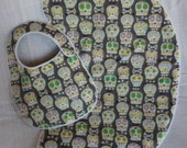 Grey Bonehead Baby Bib and Burp Cloth Gift Set