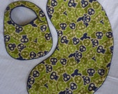 Blue Green Khaki Camo Skull and Crossbones Burp Cloth and Baby Bib Set