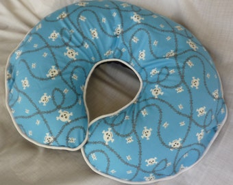 Baby Boy Boppy Cover Blue Skull and Crossbones and Barbwire Nursing Pillow Cover
